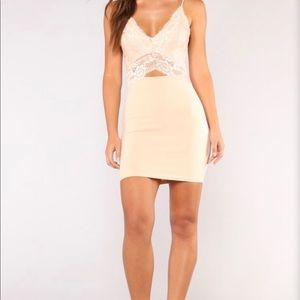 Nude BodyCon Mini Dress with Lace